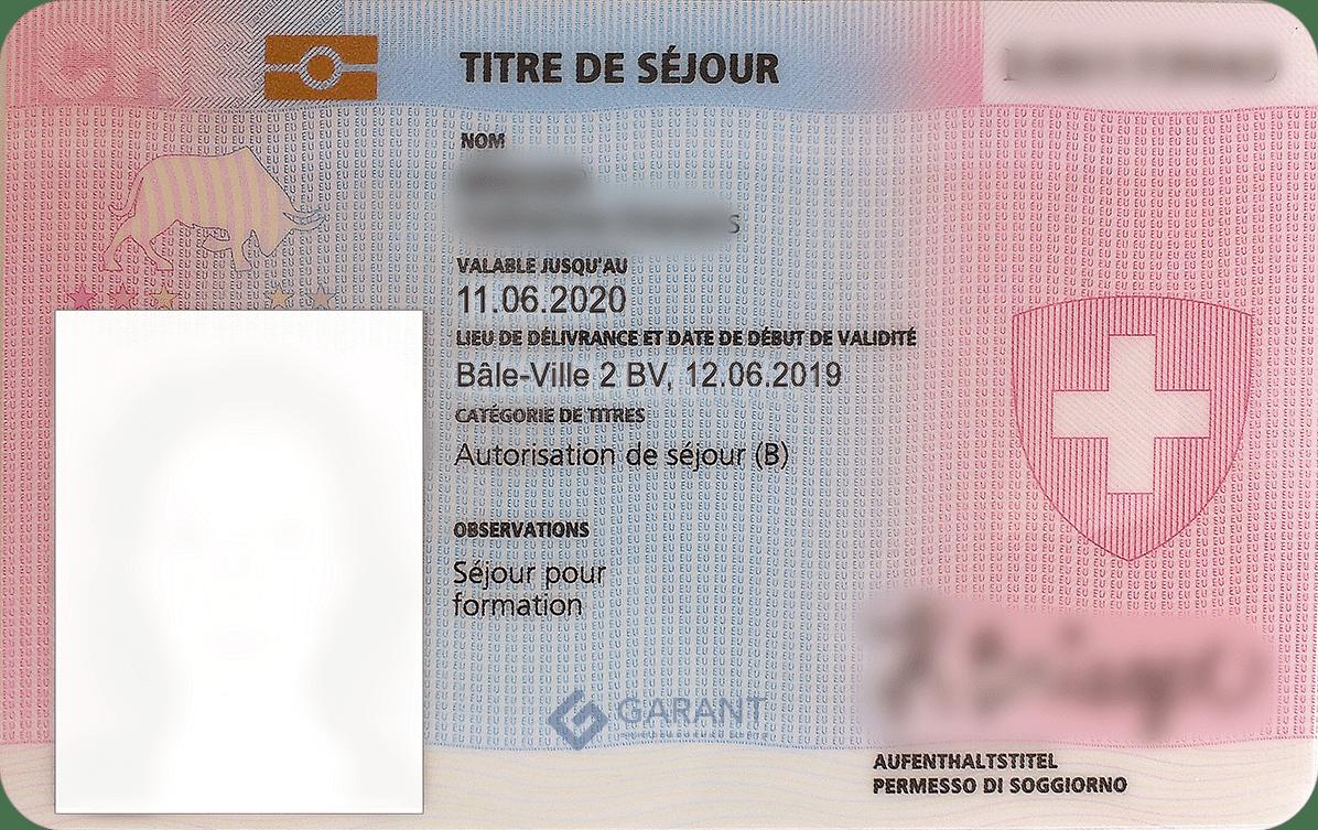 Residence permit <br>of Switzerland