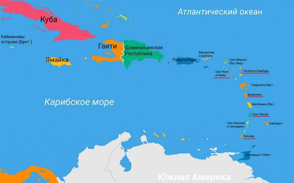 Карта, карибский бассейн